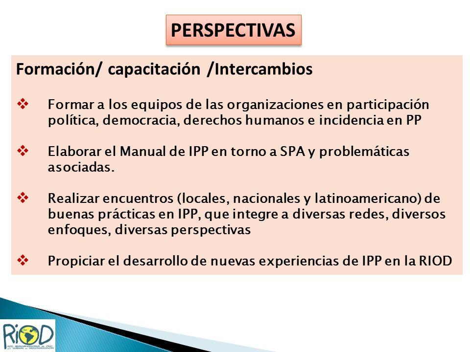 PERSPECTIVAS Formación/ capacitación /Intercambios Formar a los equipos de las organizaciones en participación política, democracia, derechos humanos e incidencia en PP Elaborar el Manual de IPP en torno a SPA y problemáticas asociadas.