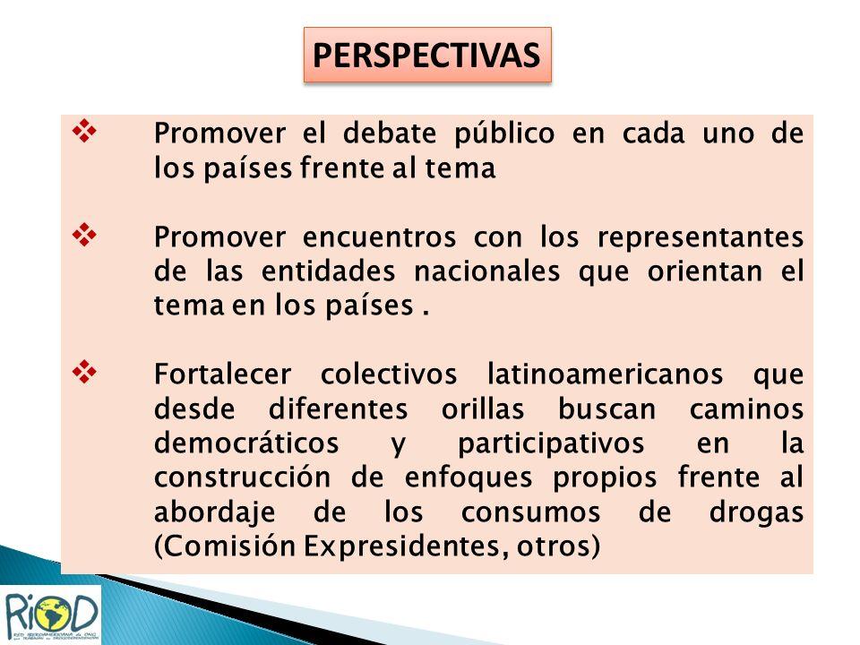 Promover el debate público en cada uno de los países frente al tema Promover encuentros con los representantes de las entidades nacionales que orientan el tema en los países.