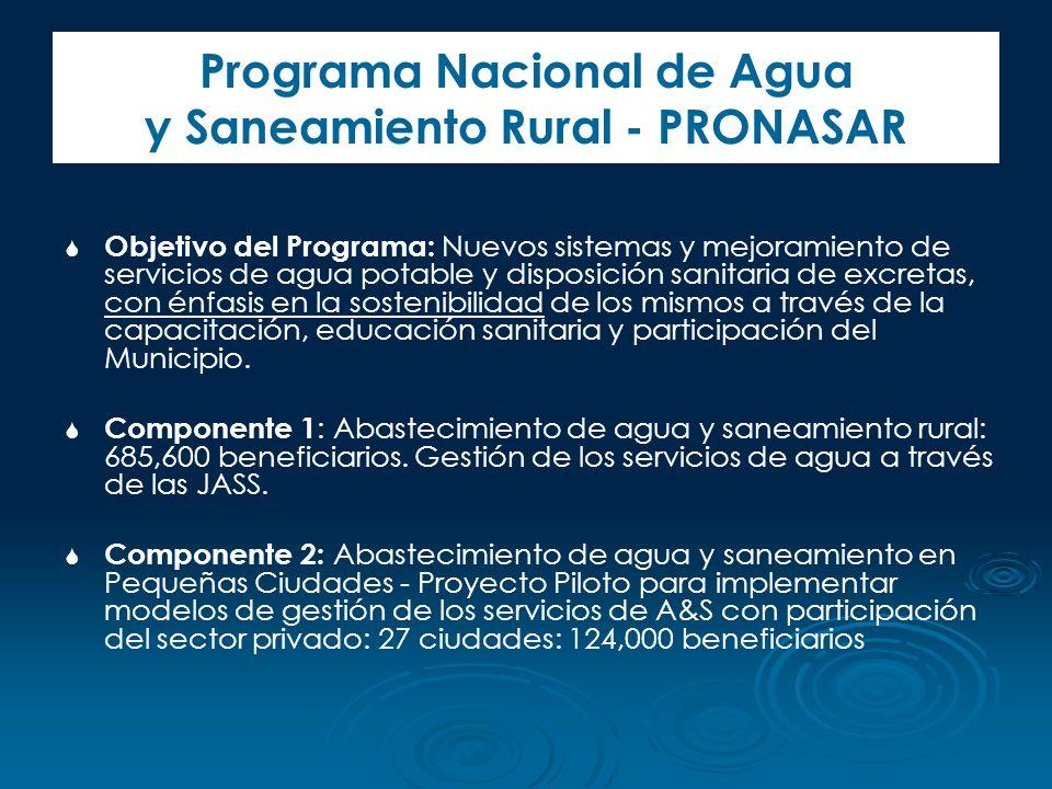 Programa Nacional de Agua y Saneamiento Rural - PRONASAR Objetivo del Programa: Nuevos sistemas y mejoramiento de servicios de agua potable y disposic
