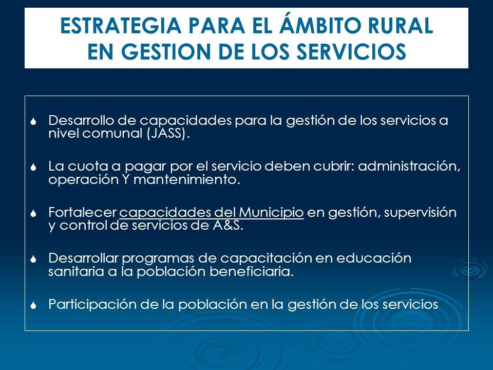 Desarrollo de capacidades para la gestión de los servicios a nivel comunal (JASS). La cuota a pagar por el servicio deben cubrir: administración, oper
