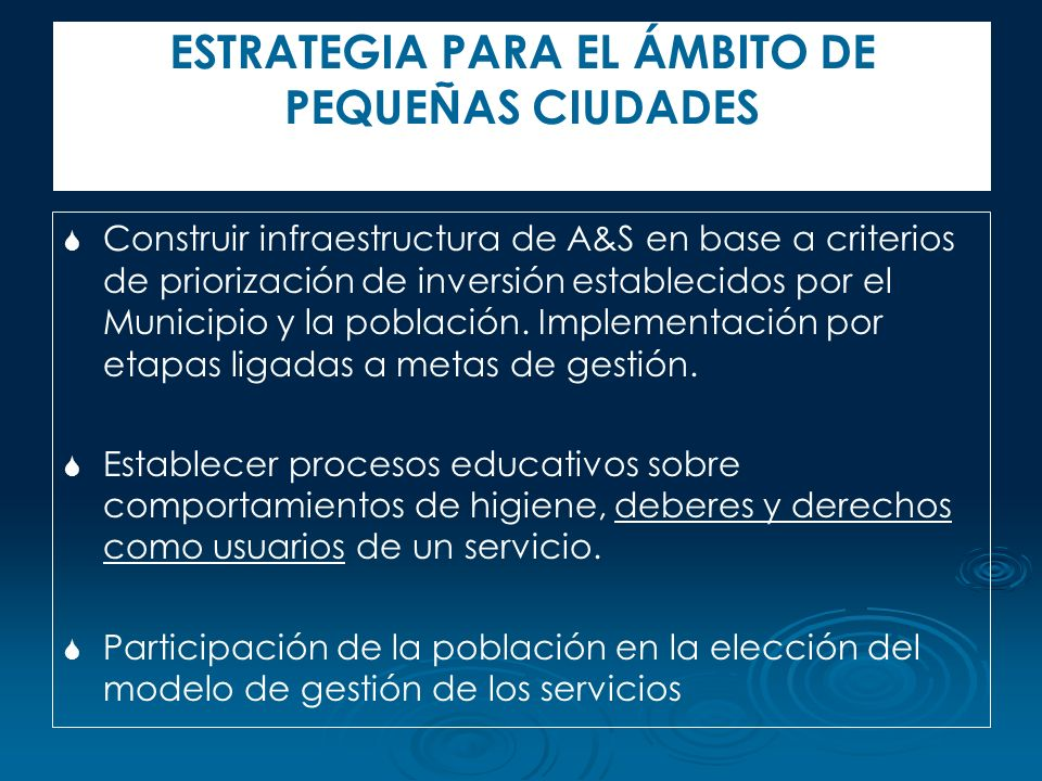 Construir infraestructura de A&S en base a criterios de priorización de inversión establecidos por el Municipio y la población. Implementación por eta