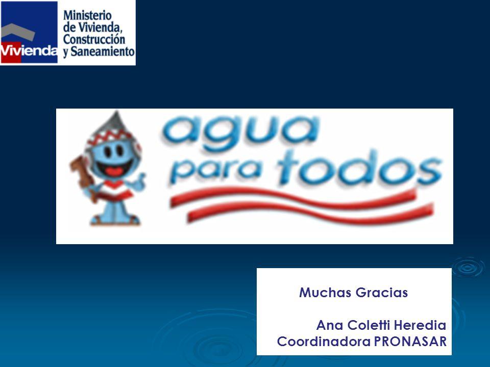 Muchas Gracias Ana Coletti Heredia Coordinadora PRONASAR
