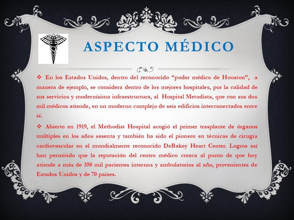 ASPECTO MÉDICO En los Estados Unidos, dentro del reconocido poder médico de Houston, a manera de ejemplo, se considera dentro de los mejores hospitale