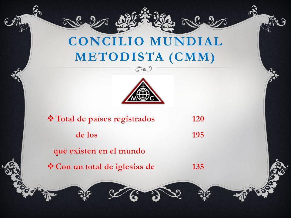 CONCILIO MUNDIAL METODISTA (CMM) Total de países registrados120 de los 195 que existen en el mundo Con un total de iglesias de135