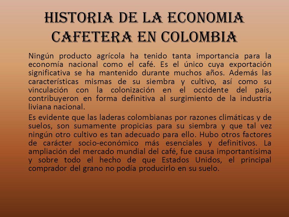 HISTORIA DE LA ECONOMIA CAFETERA EN COLOMBIA Ningún producto agrícola ha tenido tanta importancia para la economía nacional como el café. Es el único