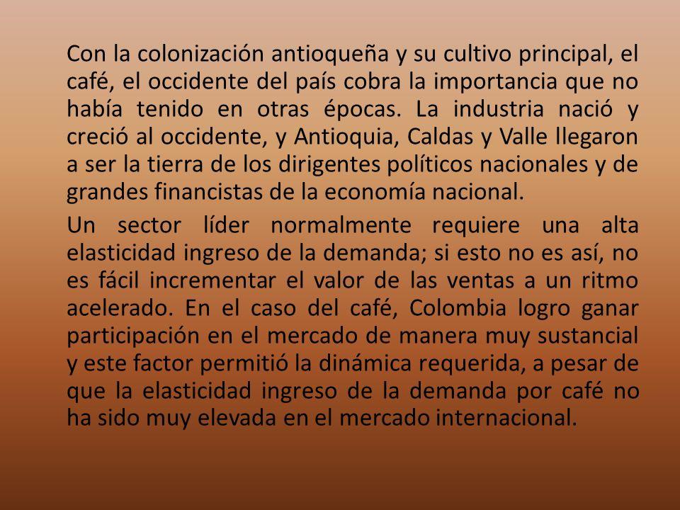 Con la colonización antioqueña y su cultivo principal, el café, el occidente del país cobra la importancia que no había tenido en otras épocas. La ind