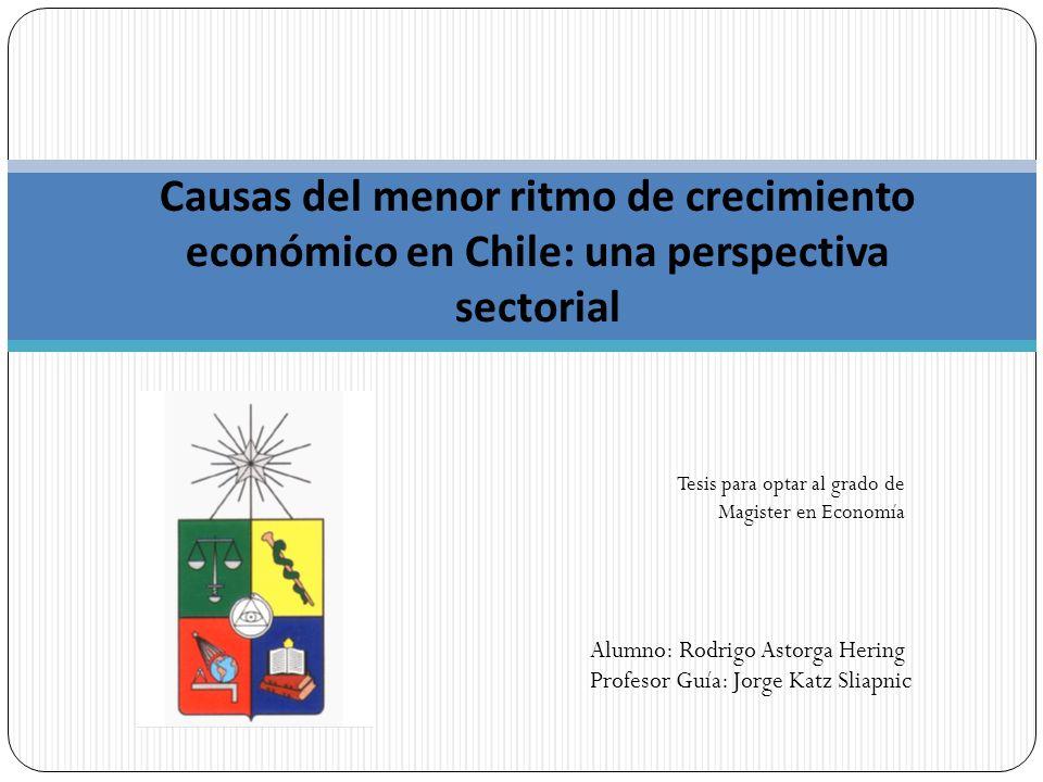Causas del menor ritmo de crecimiento económico en Chile: una perspectiva sectorial Tesis para optar al grado de Magister en Economía Alumno: Rodrigo