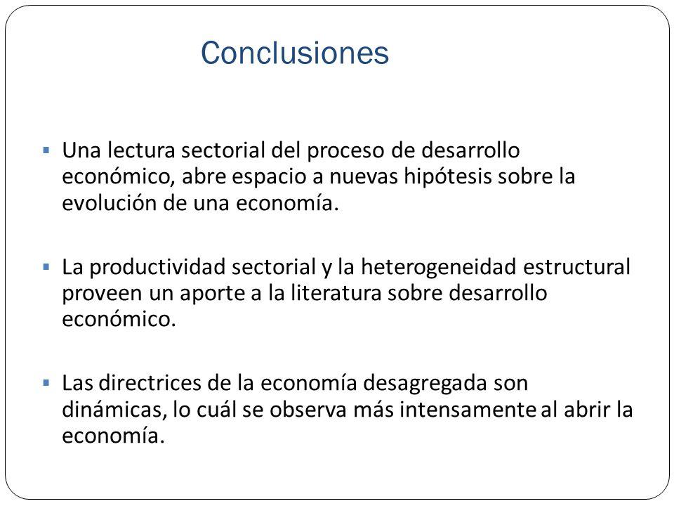 Conclusiones Una lectura sectorial del proceso de desarrollo económico, abre espacio a nuevas hipótesis sobre la evolución de una economía. La product