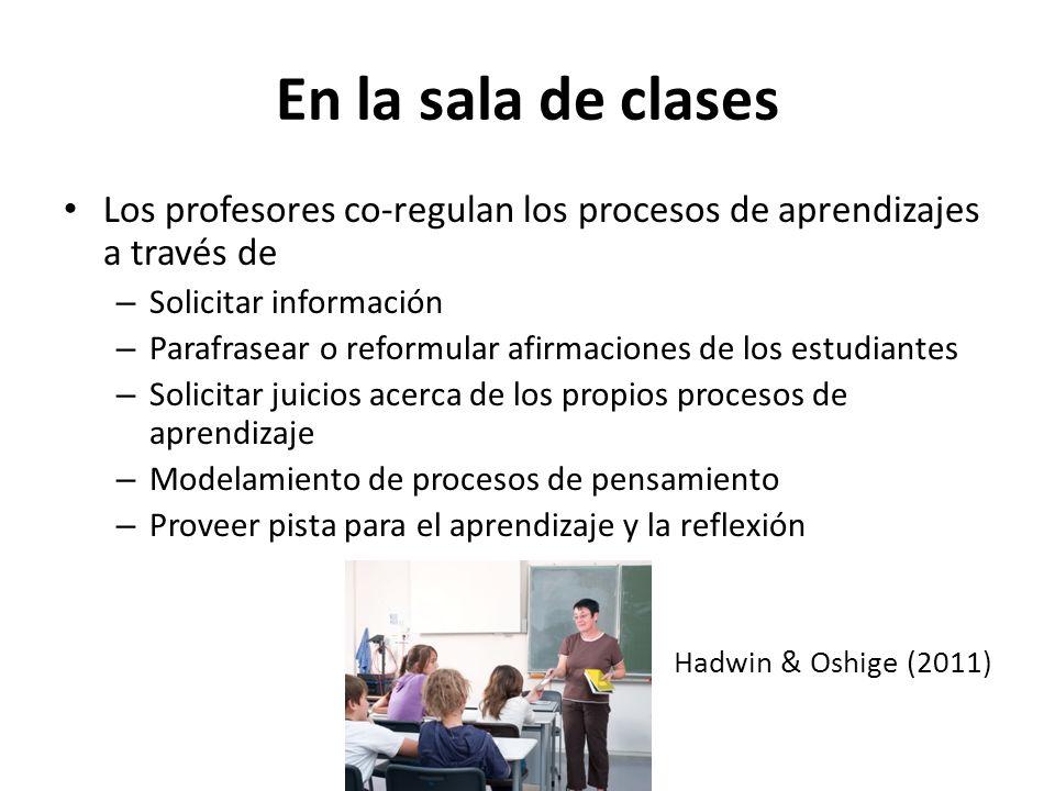 En la sala de clases Los profesores co-regulan los procesos de aprendizajes a través de – Solicitar información – Parafrasear o reformular afirmacione
