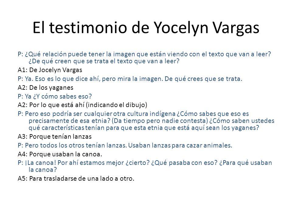 El testimonio de Yocelyn Vargas P: ¿Qué relación puede tener la imagen que están viendo con el texto que van a leer? ¿De qué creen que se trata el tex
