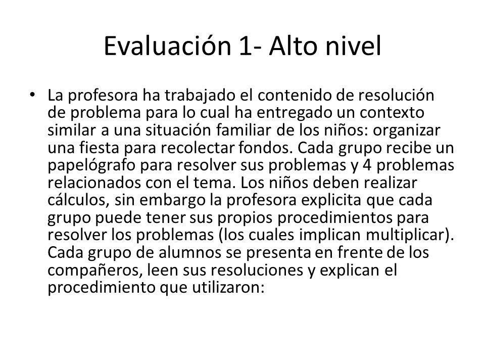 Evaluación 1- Alto nivel La profesora ha trabajado el contenido de resolución de problema para lo cual ha entregado un contexto similar a una situació