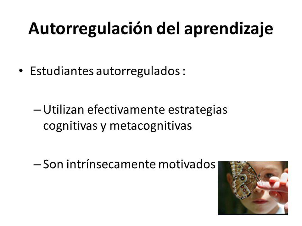 Autorregulación del aprendizaje Estudiantes autorregulados : – Utilizan efectivamente estrategias cognitivas y metacognitivas – Son intrínsecamente motivados