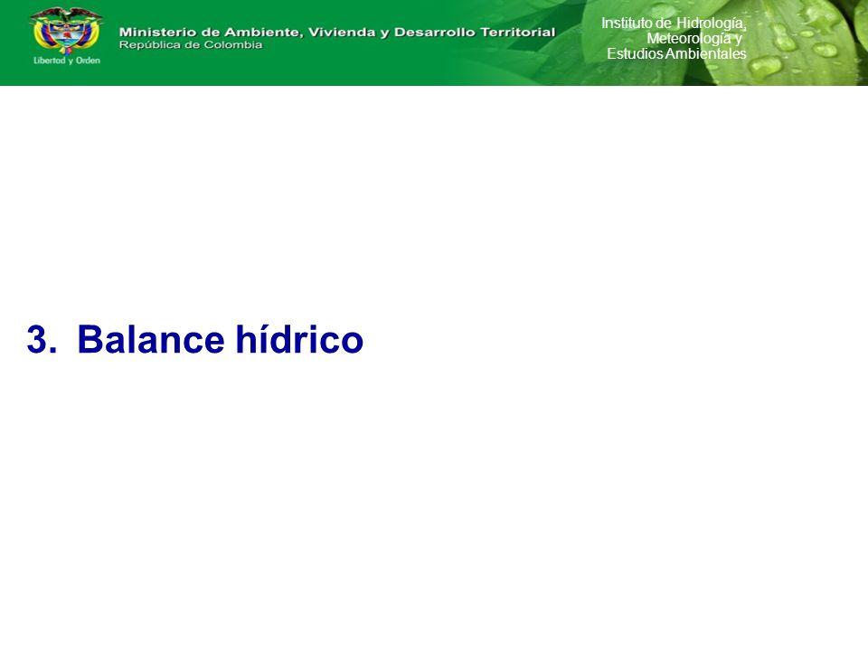 Instituto de Hidrología, Meteorología y Estudios Ambientales 1.Oferta 2.Demanda 3.Balance hídrico 4.Gestión de información en el marco de administraci