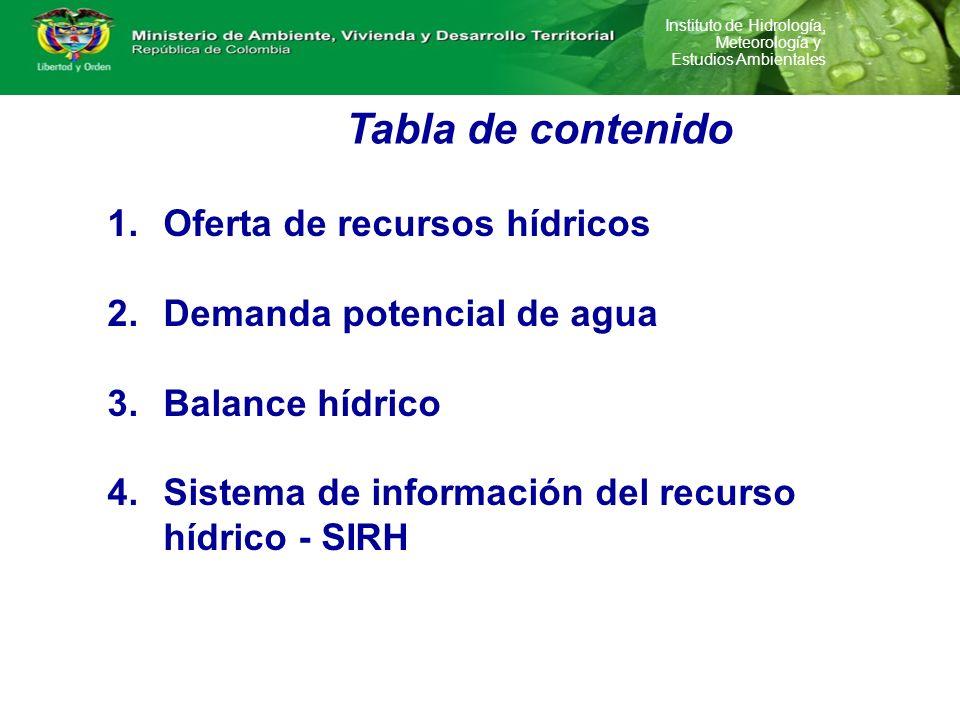 Instituto de Hidrología, Meteorología y Estudios Ambientales Tabla de contenido 1.Oferta de recursos hídricos 2.Demanda potencial de agua 3.Balance hí