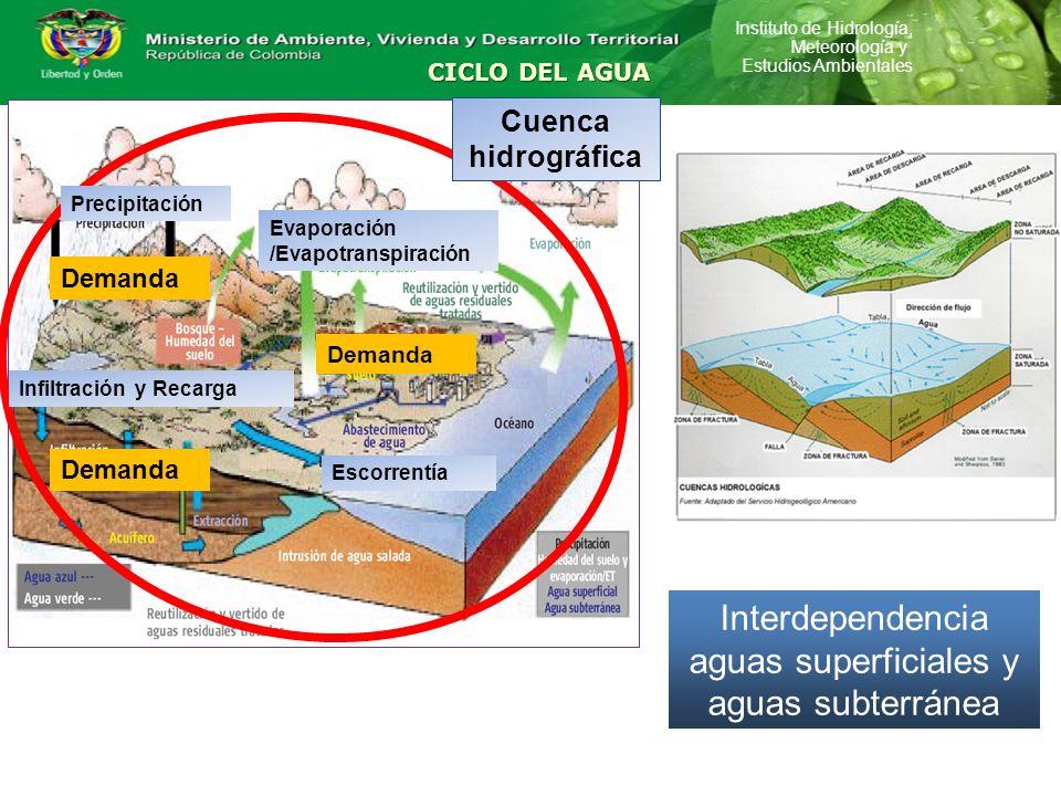 Instituto de Hidrología, Meteorología y Estudios Ambientales CICLO DEL AGUA Demanda Cuenca hidrográfica Escorrentía Infiltración y Recarga Evaporación