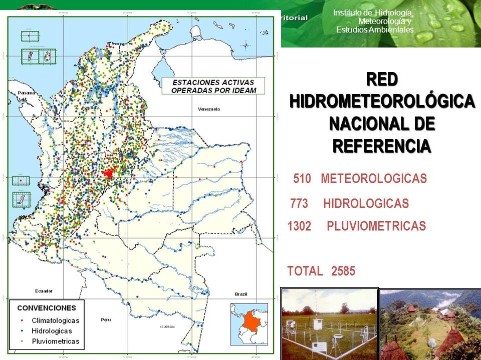 Instituto de Hidrología, Meteorología y Estudios Ambientales RED HIDROMETEOROLÓGICA NACIONAL DE REFERENCIA 510 METEOROLOGICAS 773 HIDROLOGICAS 1302 PL