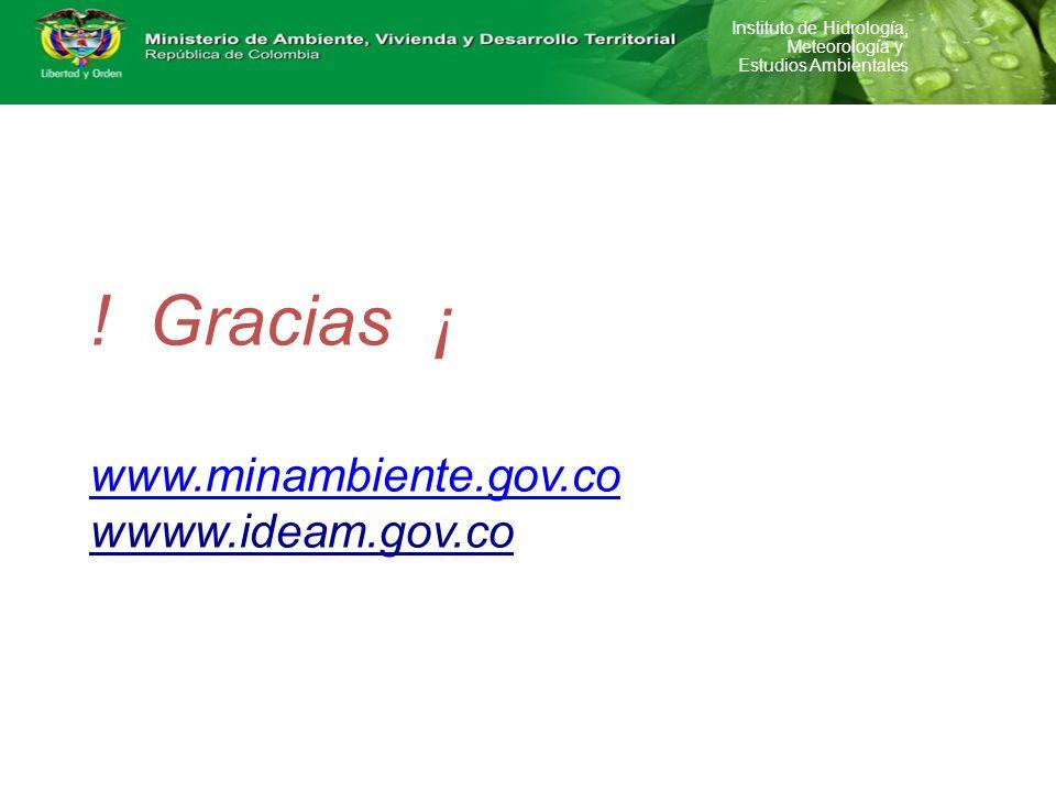 Instituto de Hidrología, Meteorología y Estudios Ambientales ! Gracias ¡ www.minambiente.gov.co wwww.ideam.gov.co