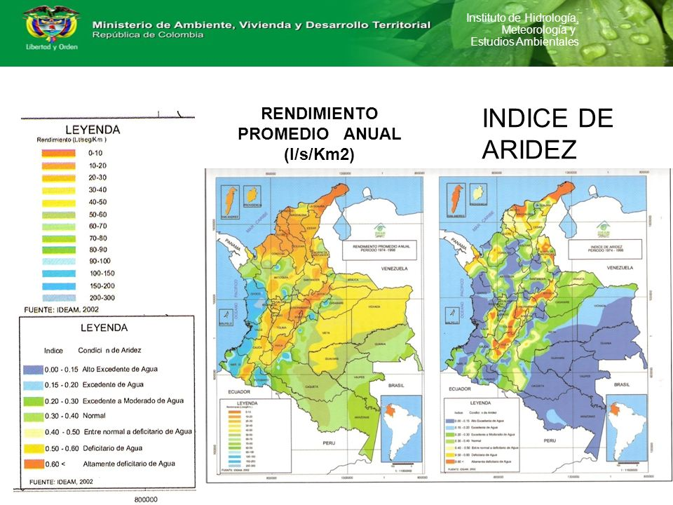 Instituto de Hidrología, Meteorología y Estudios Ambientales RENDIMIENTO PROMEDIO ANUAL (l/s/Km2) INDICE DE ARIDEZ
