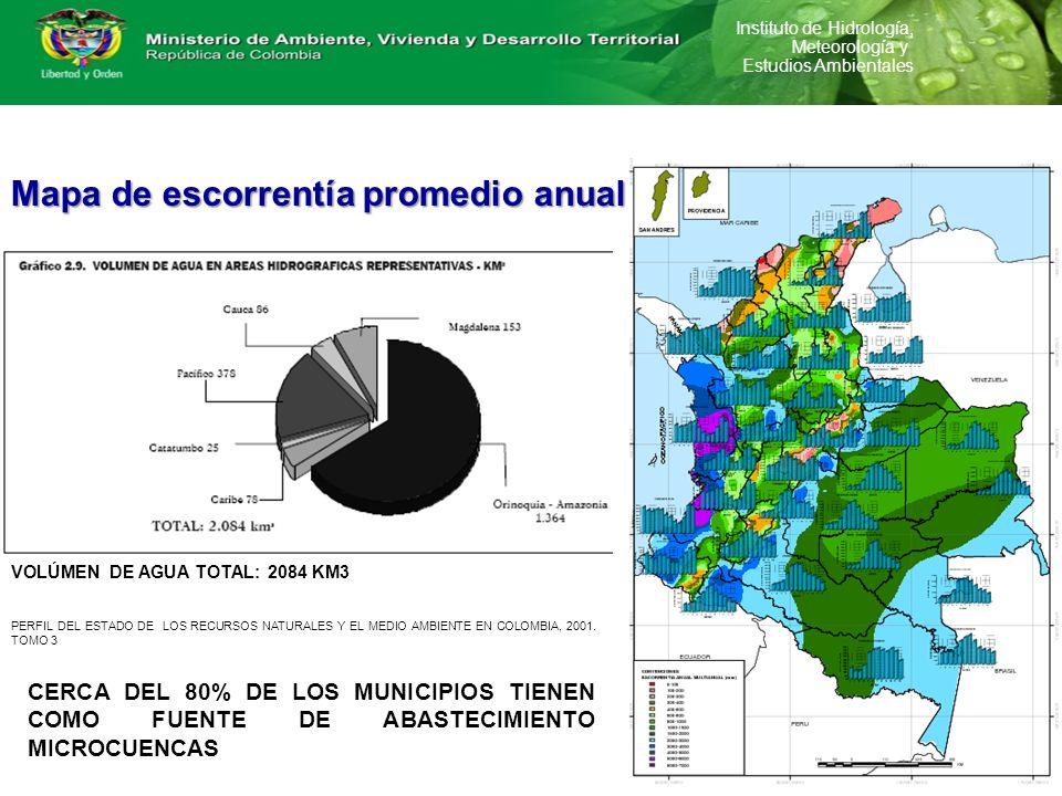 Instituto de Hidrología, Meteorología y Estudios Ambientales Mapa de escorrentía promedio anual PERFIL DEL ESTADO DE LOS RECURSOS NATURALES Y EL MEDIO