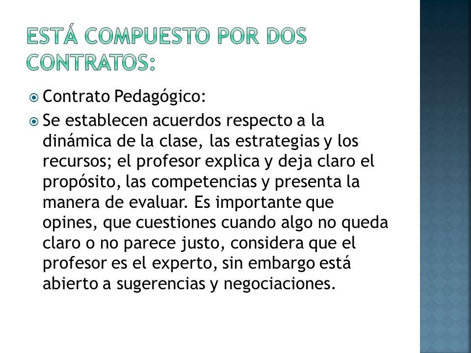 Contrato Pedagógico: Se establecen acuerdos respecto a la dinámica de la clase, las estrategias y los recursos; el profesor explica y deja claro el pr
