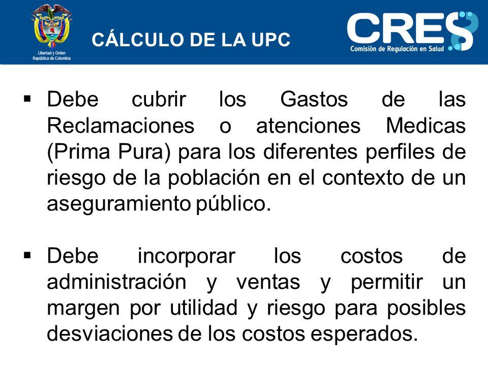 CÁLCULO DE LA UPC Debe cubrir los Gastos de las Reclamaciones o atenciones Medicas (Prima Pura) para los diferentes perfiles de riesgo de la población en el contexto de un aseguramiento público.