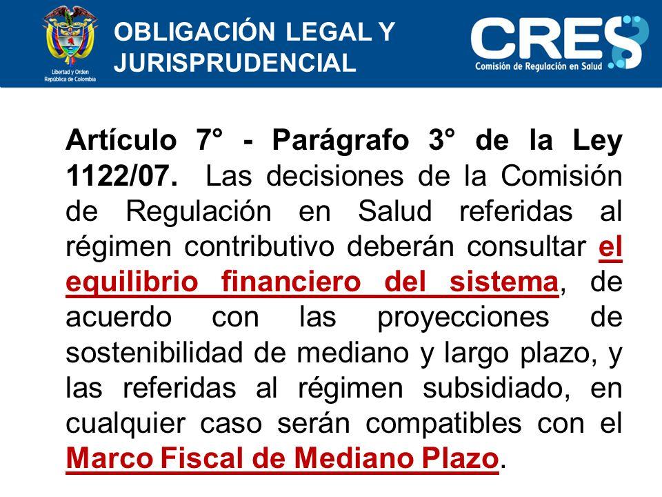 Artículo 7° - Parágrafo 3° de la Ley 1122/07.