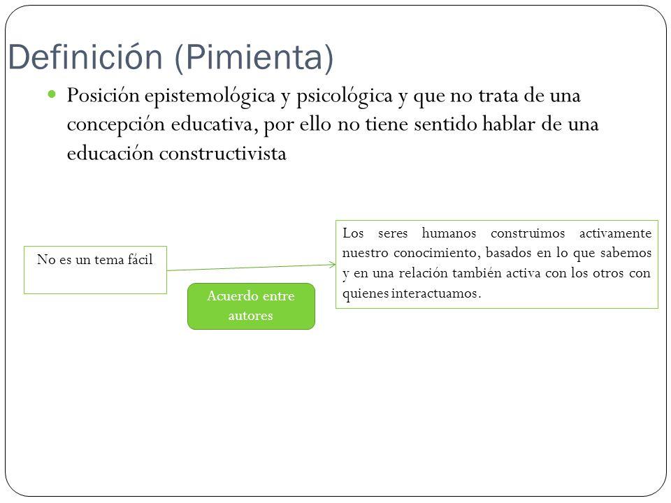 Definición (Pimienta) Posición epistemológica y psicológica y que no trata de una concepción educativa, por ello no tiene sentido hablar de una educac