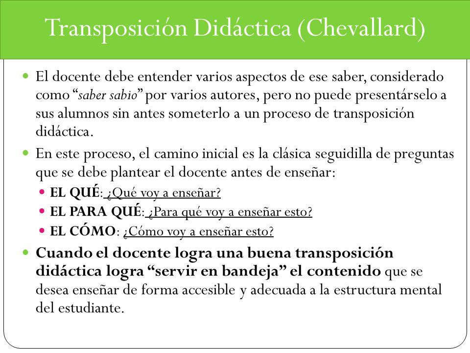 Transposición Didáctica (Chevallard) El docente debe entender varios aspectos de ese saber, considerado como saber sabio por varios autores, pero no p