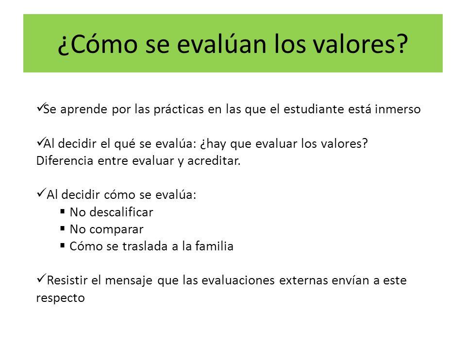 ¿Cómo se evalúan los valores.