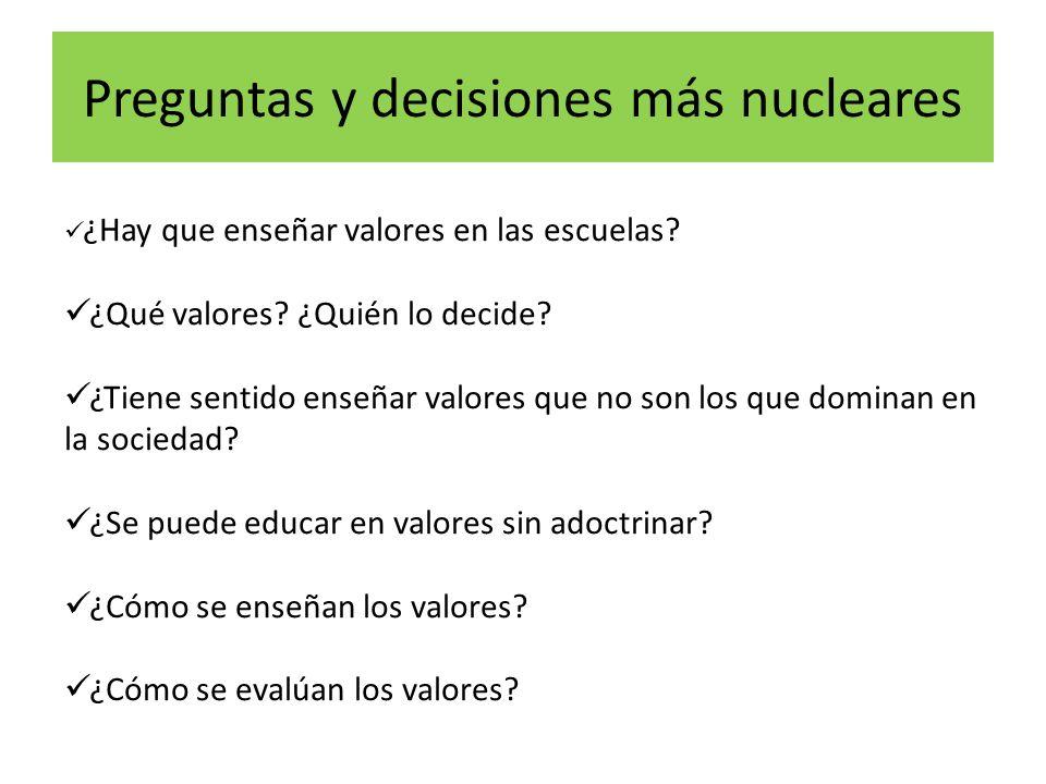 Preguntas y decisiones más nucleares ¿Hay que enseñar valores en las escuelas.