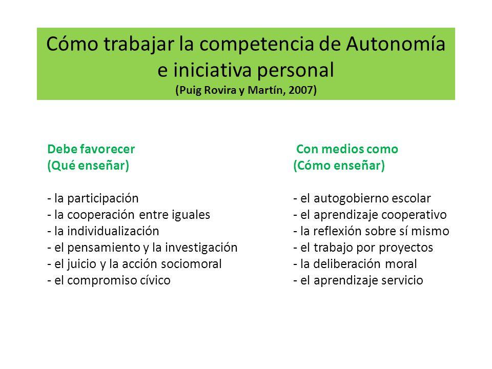 Cómo trabajar la competencia de Autonomía e iniciativa personal (Puig Rovira y Martín, 2007) Debe favorecer Con medios como (Qué enseñar)(Cómo enseñar) - la participación- el autogobierno escolar - la cooperación entre iguales- el aprendizaje cooperativo - la individualización- la reflexión sobre sí mismo - el pensamiento y la investigación- el trabajo por proyectos - el juicio y la acción sociomoral- la deliberación moral - el compromiso cívico- el aprendizaje servicio 9
