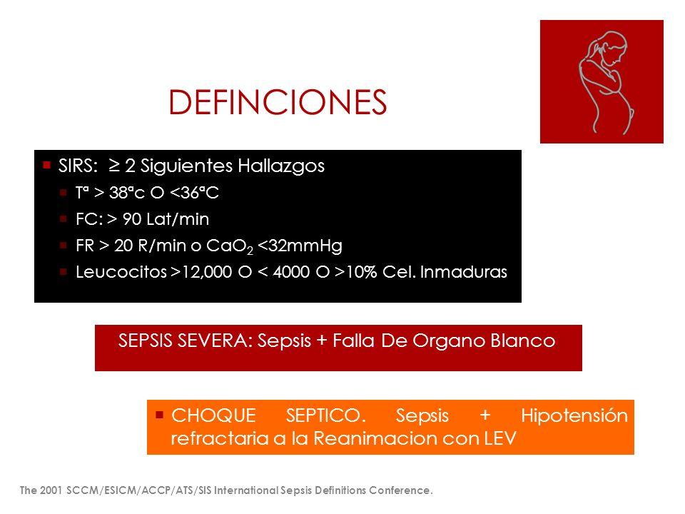 DEFINCIONES SIRS: 2 Siguientes Hallazgos Tª > 38ªc O <36ªC FC: > 90 Lat/min FR > 20 R/min o CaO 2 <32mmHg Leucocitos >12,000 O 10% Cel. Inmaduras SEPS