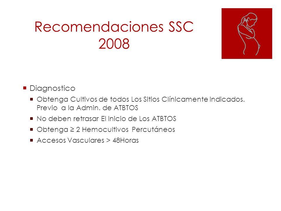 Recomendaciones SSC 2008 Diagnostico Obtenga Cultivos de todos Los Sitios Clínicamente Indicados. Previo a la Admin. de ATBTOS No deben retrasar El In