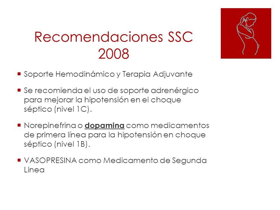 Recomendaciones SSC 2008 Soporte Hemodinámico y Terapia Adjuvante Se recomienda el uso de soporte adrenérgico para mejorar la hipotensión en el choque