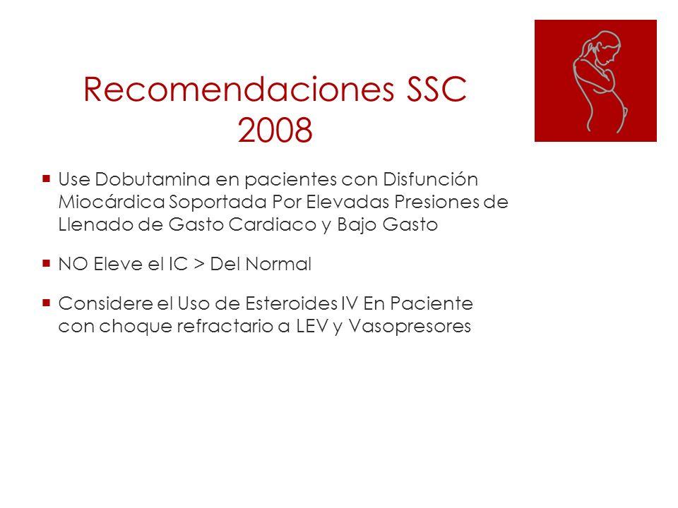 Recomendaciones SSC 2008 Use Dobutamina en pacientes con Disfunción Miocárdica Soportada Por Elevadas Presiones de Llenado de Gasto Cardiaco y Bajo Ga