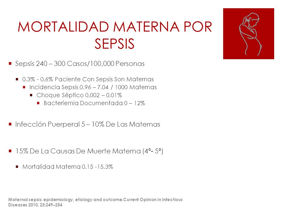 MORTALIDAD MATERNA POR SEPSIS Sepsis 240 – 300 Casos/100,000 Personas 0,3% - 0,6% Paciente Con Sepsis Son Maternas Incidencia Sepsis 0.96 – 7,04 / 1000 Maternas Choque Séptico 0,002 – 0,01% Bacteriemia Documentada 0 – 12% Infección Puerperal 5 – 10% De Las Maternas 15% De La Causas De Muerte Materna (4ª- 5ª) Mortalidad Materna 0,15 -15.3% Maternal sepsis: epidemiology, etiology and outcome.Current Opinion in Infectious Diseases 2010, 23:249–254