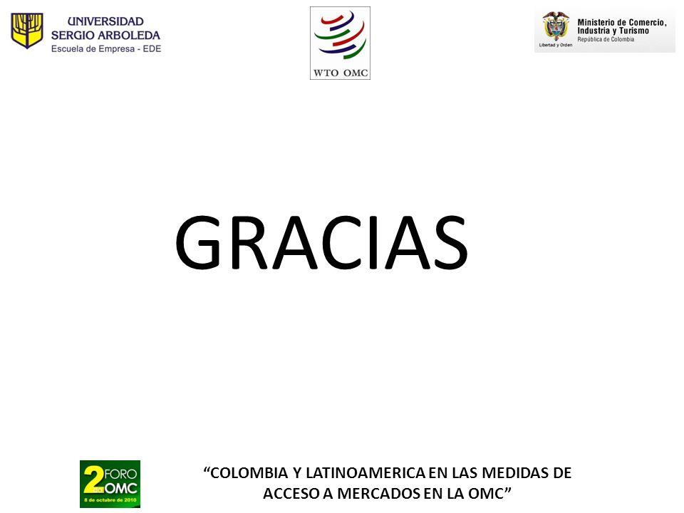 COLOMBIA Y LATINOAMERICA EN LAS MEDIDAS DE ACCESO A MERCADOS EN LA OMC GRACIAS