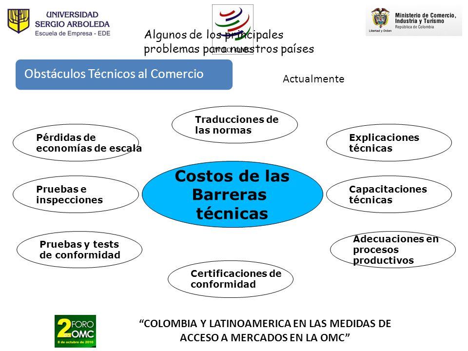 COLOMBIA Y LATINOAMERICA EN LAS MEDIDAS DE ACCESO A MERCADOS EN LA OMC Costos de las Barreras técnicas Traducciones de las normas Pruebas y tests de c