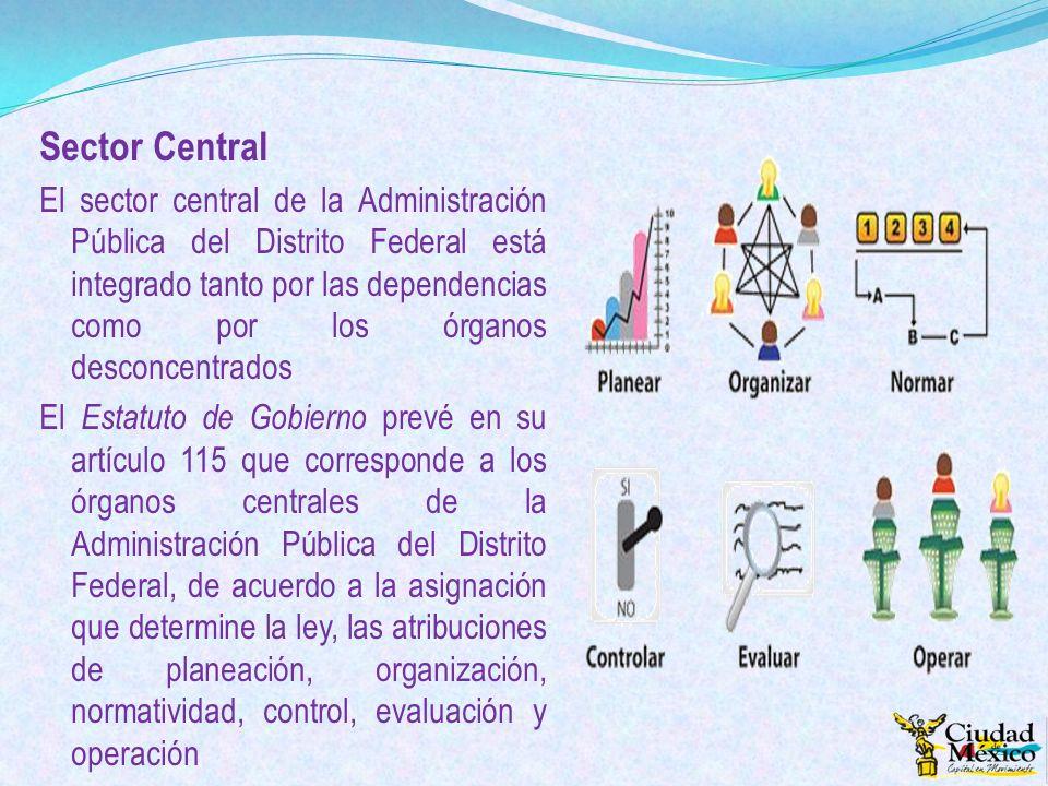 Sector Central El sector central de la Administración Pública del Distrito Federal está integrado tanto por las dependencias como por los órganos desc
