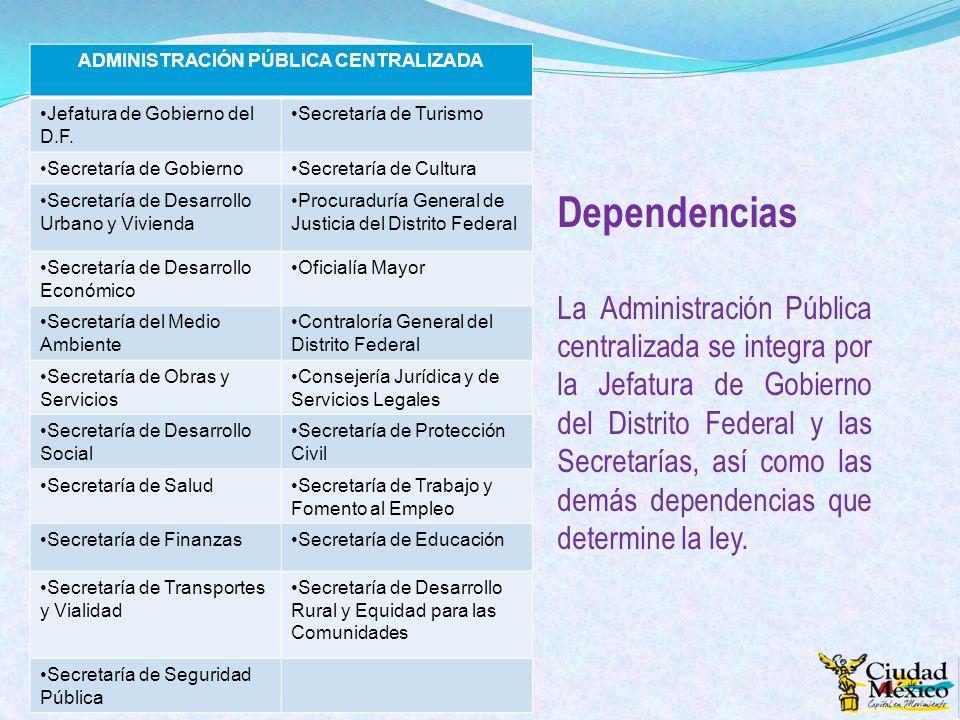 Dependencias La Administración Pública centralizada se integra por la Jefatura de Gobierno del Distrito Federal y las Secretarías, así como las demás