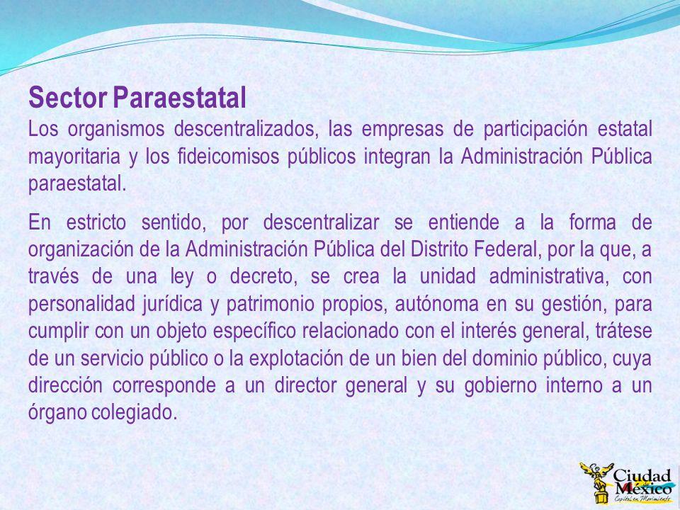 Sector Paraestatal Los organismos descentralizados, las empresas de participación estatal mayoritaria y los fideicomisos públicos integran la Administ