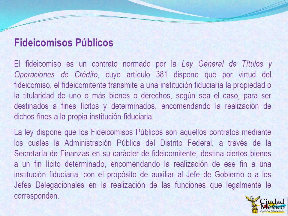 Fideicomisos Públicos El fideicomiso es un contrato normado por la Ley General de Títulos y Operaciones de Crédito, cuyo artículo 381 dispone que por