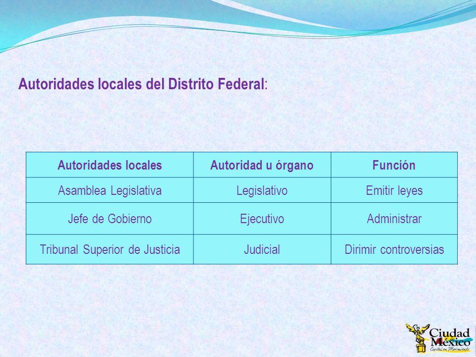 Autoridades locales del Distrito Federal : Autoridades localesAutoridad u órganoFunción Asamblea LegislativaLegislativoEmitir leyes Jefe de GobiernoEj
