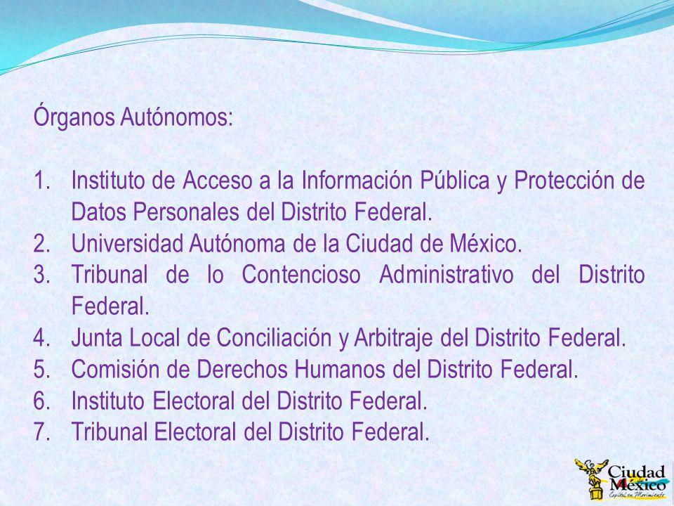 Órganos Autónomos: 1.Instituto de Acceso a la Información Pública y Protección de Datos Personales del Distrito Federal. 2.Universidad Autónoma de la