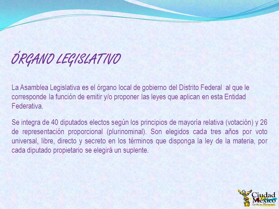 ÓRGANO LEGISLATIVO La Asamblea Legislativa es el órgano local de gobierno del Distrito Federal al que le corresponde la función de emitir y/o proponer