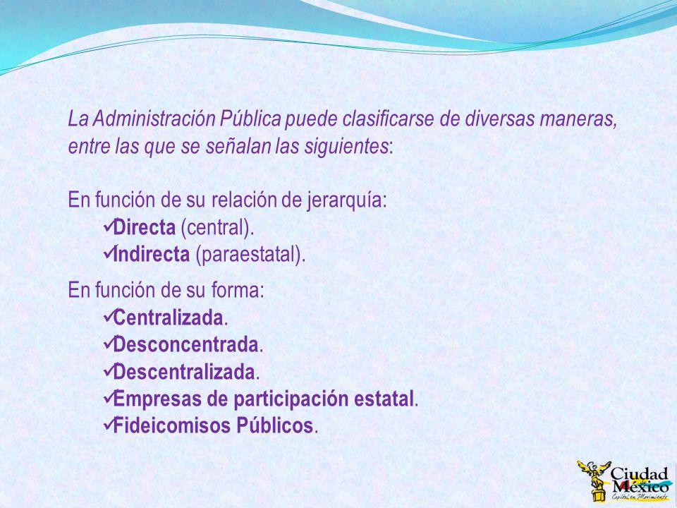 La Administración Pública puede clasificarse de diversas maneras, entre las que se señalan las siguientes : En función de su relación de jerarquía: Di