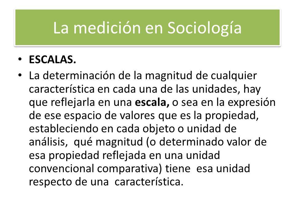 La medición en Sociología ESCALAS. La determinación de la magnitud de cualquier característica en cada una de las unidades, hay que reflejarla en una