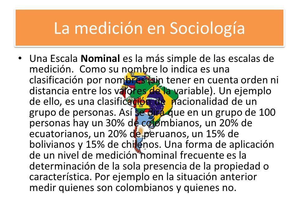 La medición en Sociología Una Escala Nominal es la más simple de las escalas de medición. Como su nombre lo indica es una clasificación por nombres (s