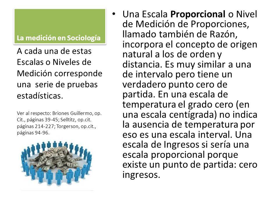 La medición en Sociología Una Escala Proporcional o Nivel de Medición de Proporciones, llamado también de Razón, incorpora el concepto de origen natur