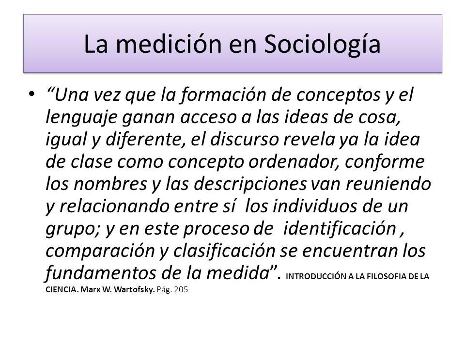La medición en Sociología Una vez que la formación de conceptos y el lenguaje ganan acceso a las ideas de cosa, igual y diferente, el discurso revela